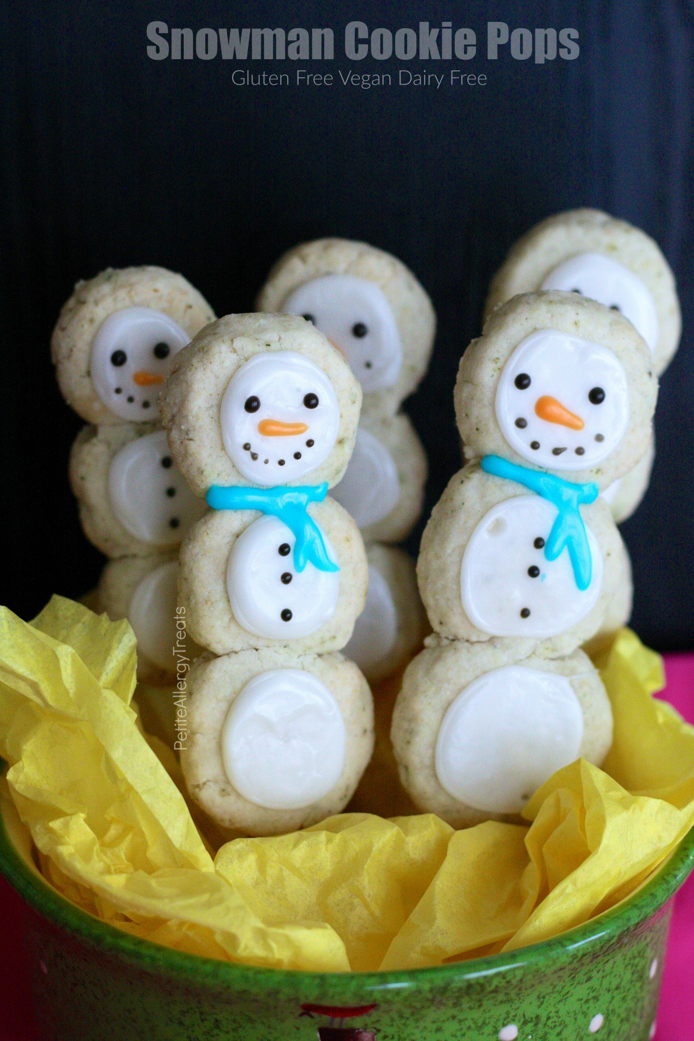 Gluten Free Snowman Cookie Pops Recipe (dairy free vegan) Adorable snowman cookies for Christmas season!!