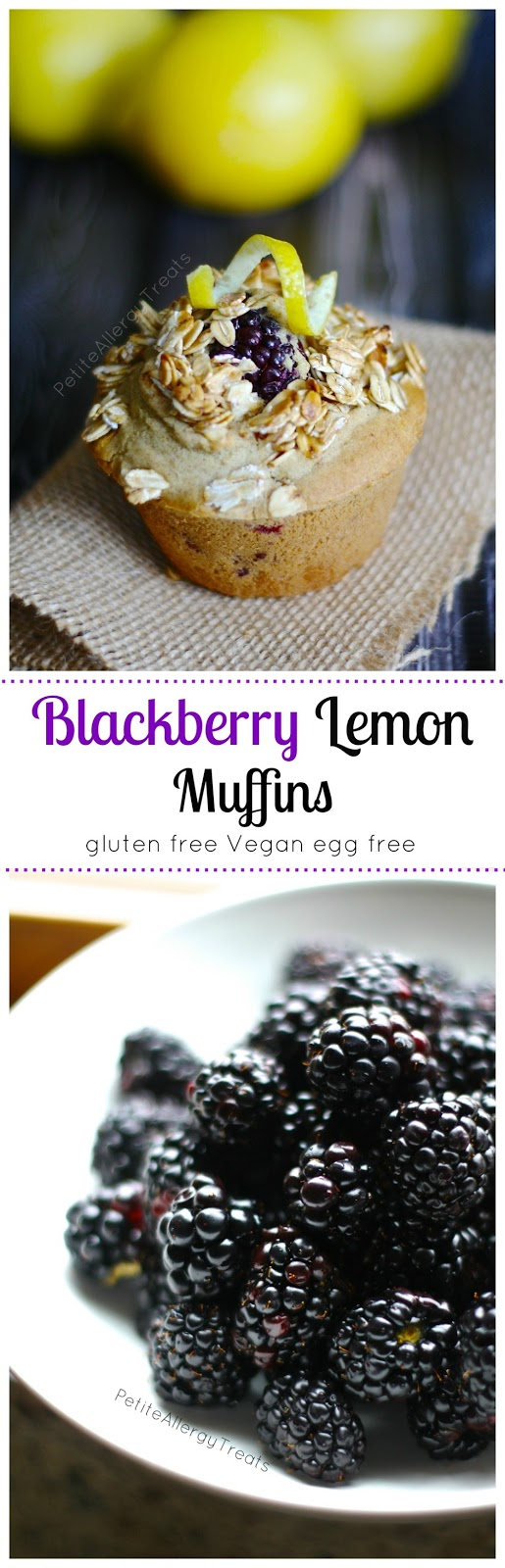 Lemon Blackberry Muffins (Gluten free Vegan) Luscious blackberries with hints of lemon, best gluten free muffin EVER!
