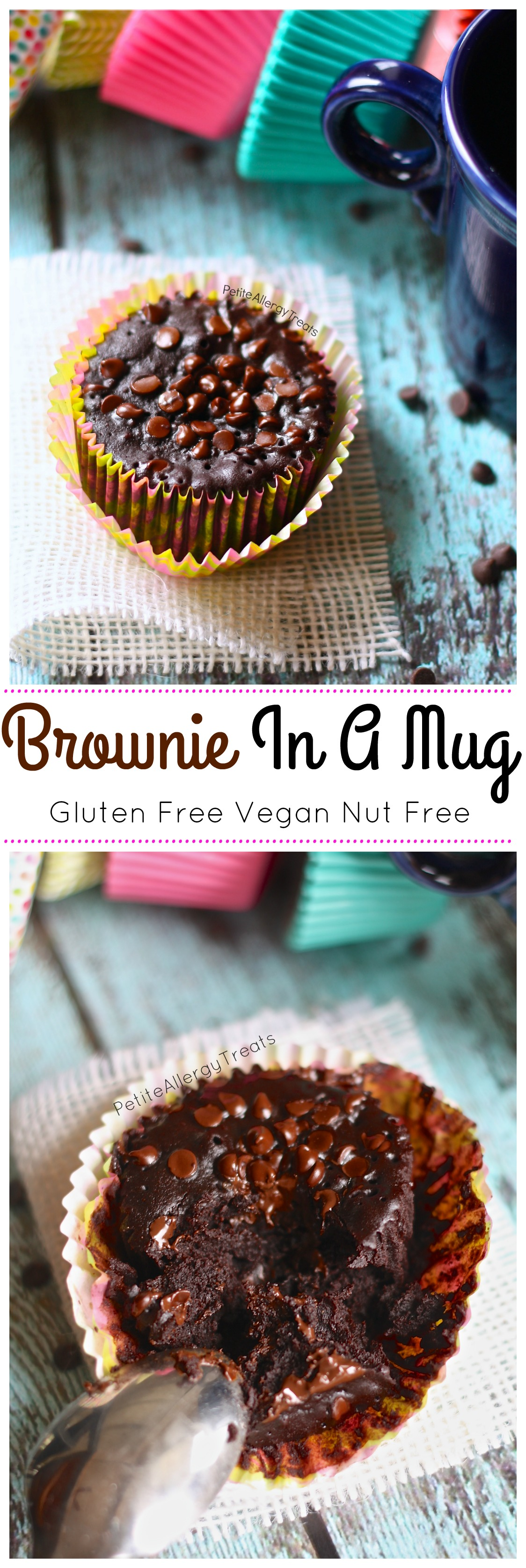 Brownie In A Mug (Gluten Free Vegan) -Easy single brownie, warm every time from the microwave!