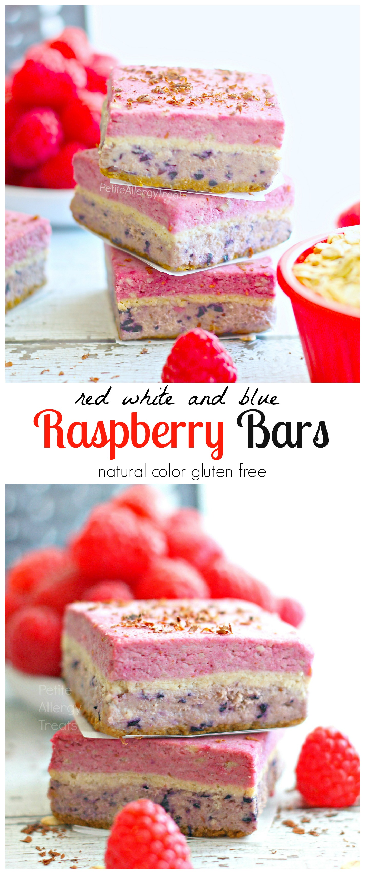 Raspberry Bars (Raw Vegan Gluten Free)|Naturally red, white and blue, bursting with raspberry!