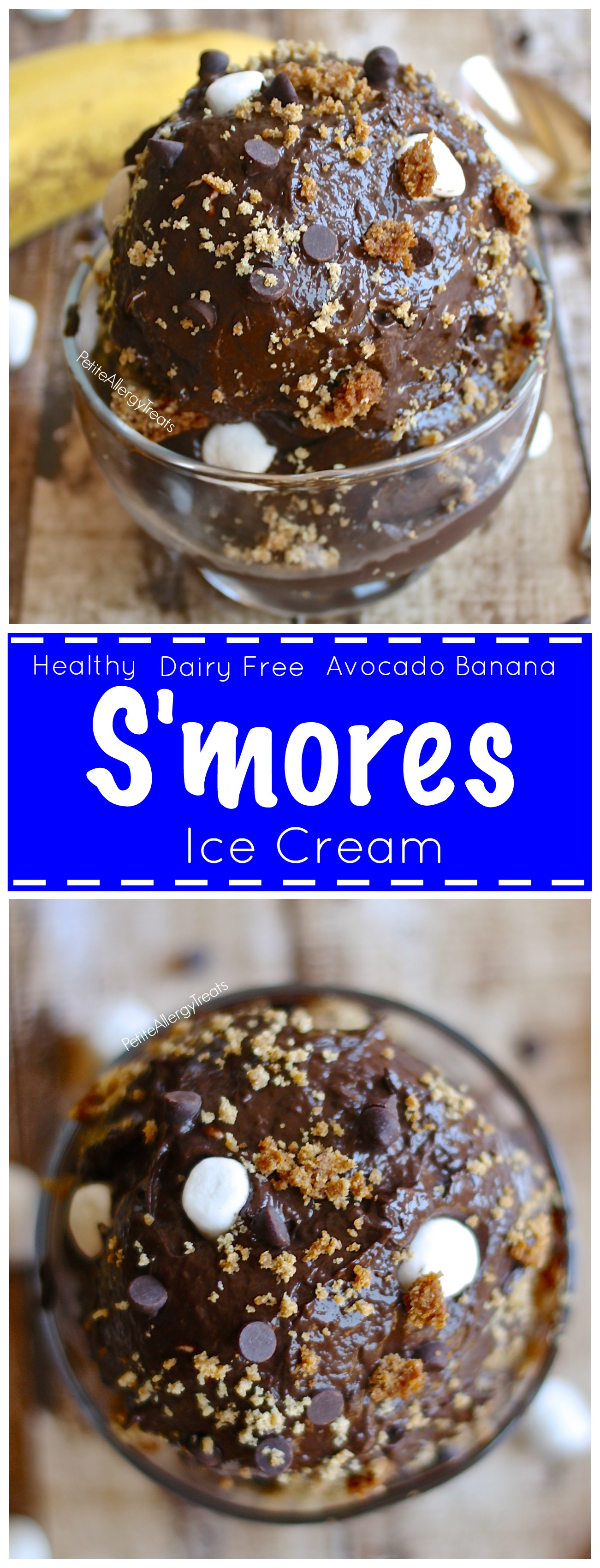 Healthy S'mores Ice Cream Recipe (Dairy Free, Gluten Free Vegan option) Healthy S'mores ice cream made with avocado and banana
