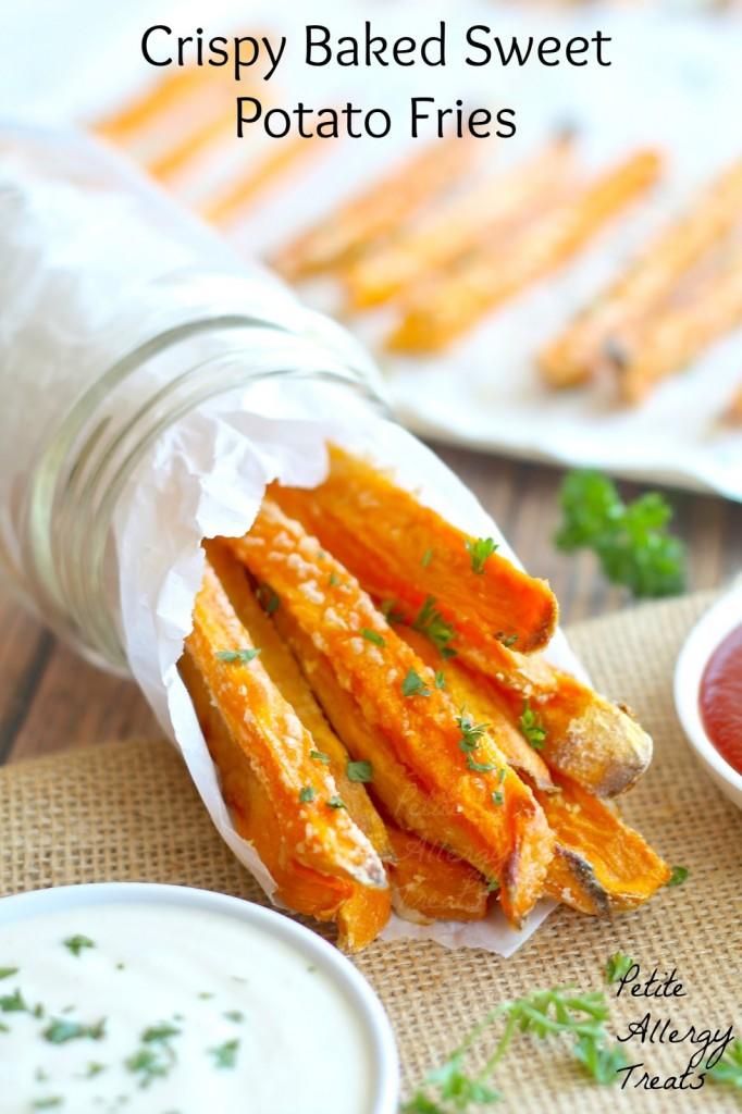 Crispy Baked Sweet Potato Fries -  BEST baked sweet potato fries easy with minimal oil.
