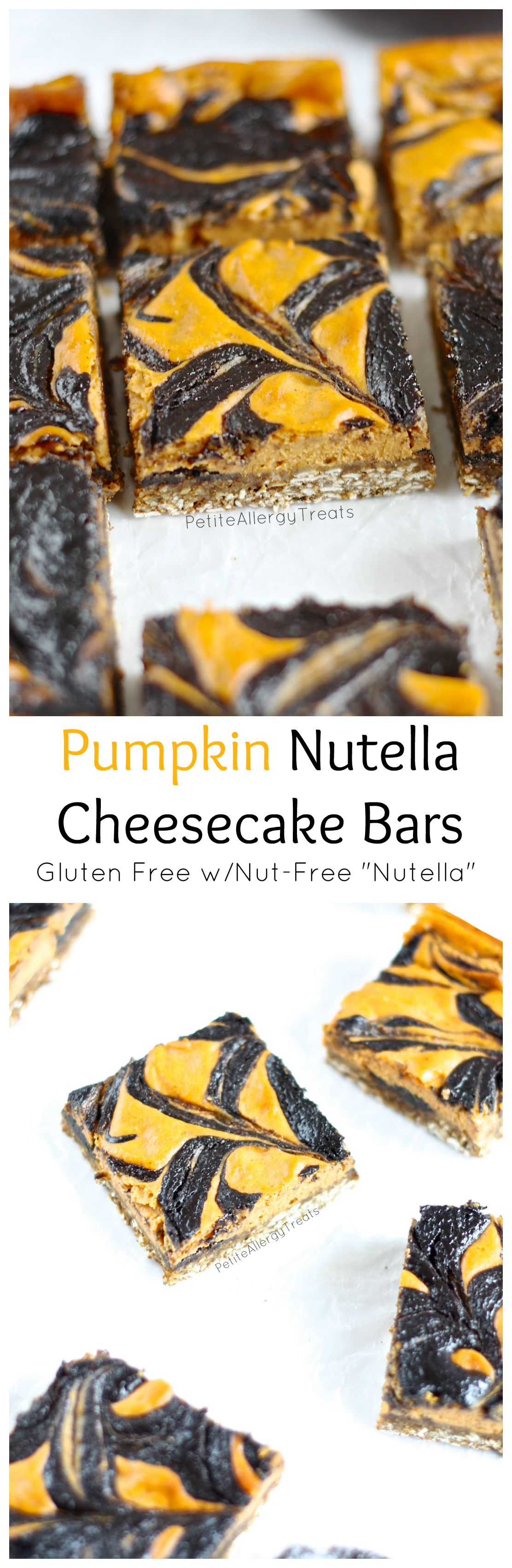 Pumpkin Nutella Cheesecake Bars (gluten free egg free)- Pumpkin and nut-free nutella cheesecake bars