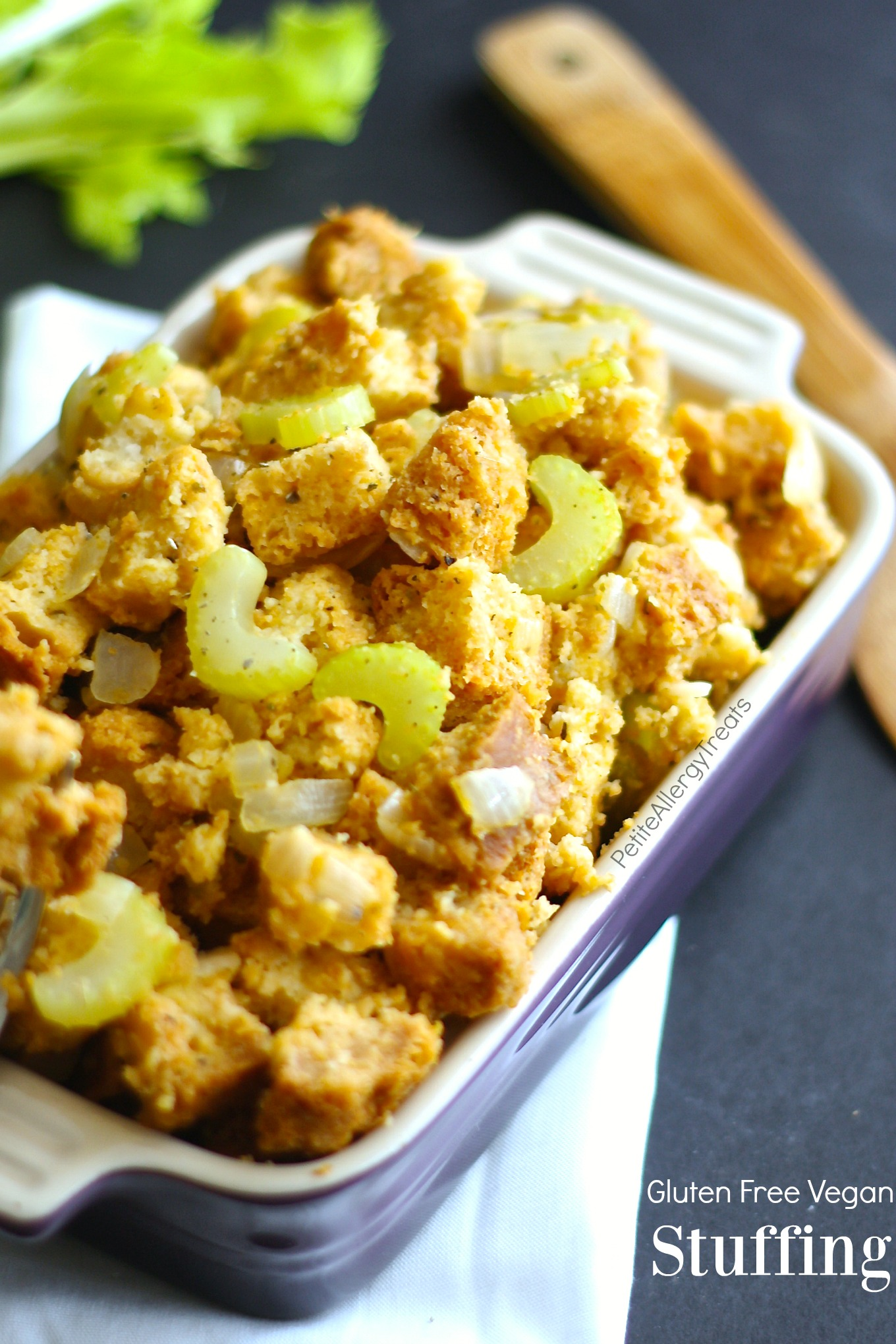 Gluten Free Stuffing- Easy traditional stuffing that's also Vegan. PetiteAllergyTreats. #thanksgiving
