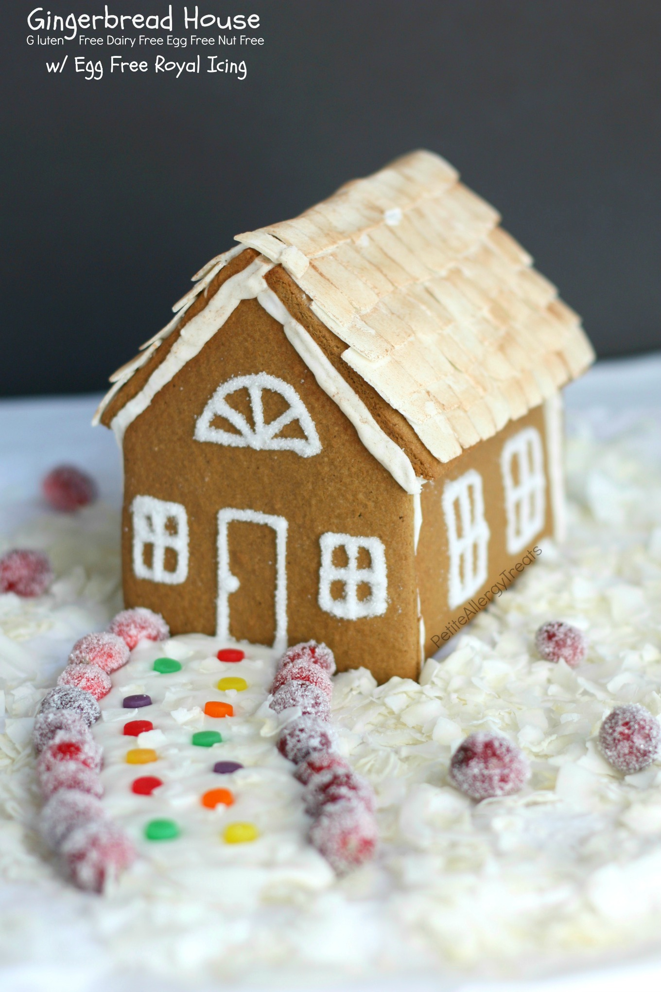 Gluten Free Vegan Gingerbread House Recipe (dairy free egg free)- Food allergy friendly gingerbread with Egg free Royal Icing