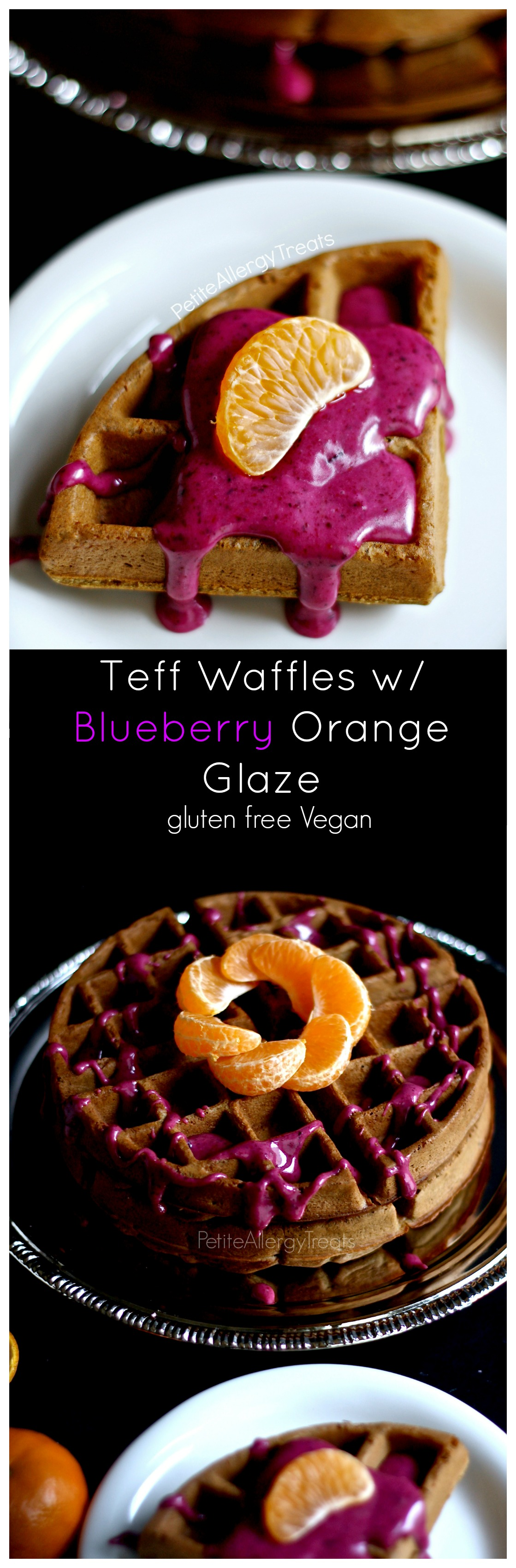 Gluten Free Teff Waffles and Blueberry Orange Glaze (vegan dairy free) Delicious waffles packed with wholesome teff flour and blueberry-orange glaze