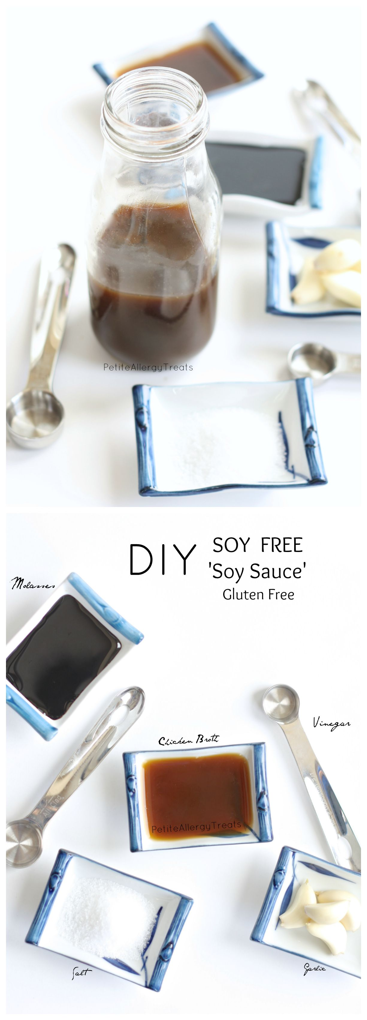 Homemade Soy Free 'Soy Sauce' (Gluten Free) Make your soy-free sauce with less sodium but all the flavor.  Perfect for those with soy and wheat allergies