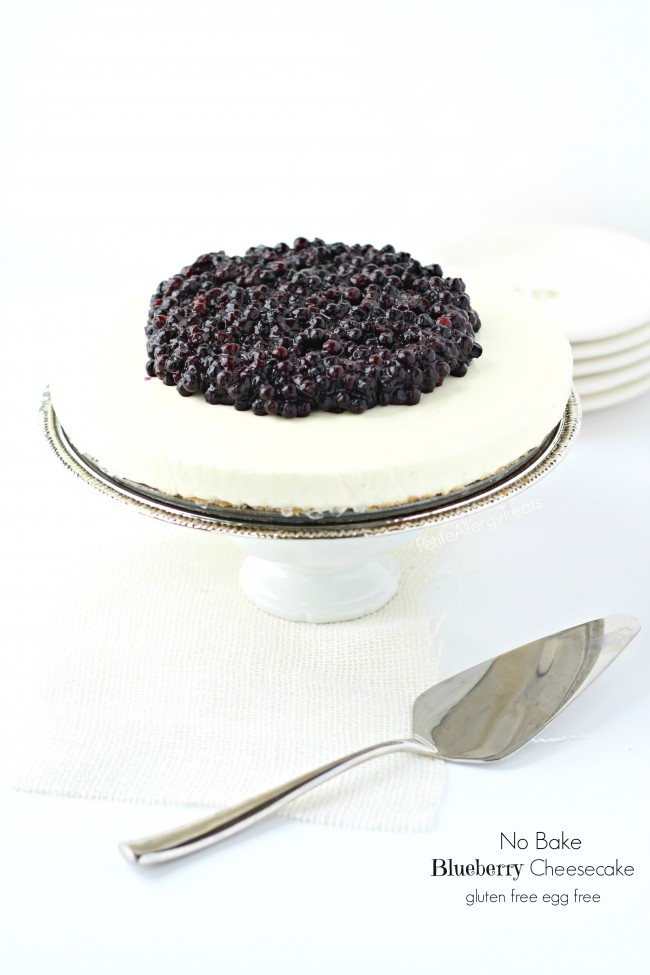 Blueberry Cheesecake (No Bake Egg free)- These gluten free cheesecake is a classic creamy cake without egg. nut free