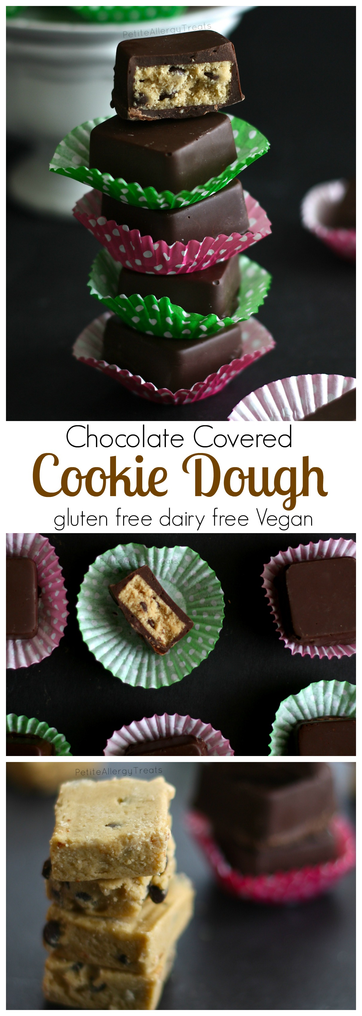 Raw Cookie Dough Bites (Egg less) Delicious chocolate covered cookie dough bites made gluten free, dairy free and Vegan