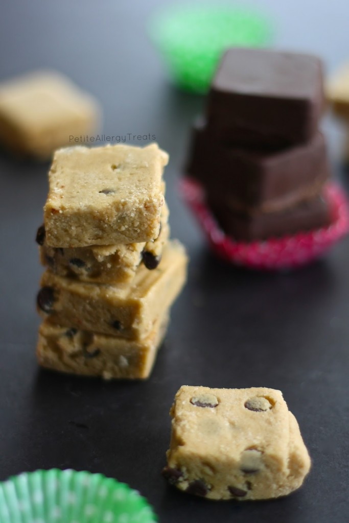 Raw Cookie Dough Bites (gluten free egg free Vegan) Raw eggless dairy free cookie dough dipped in chocolate for an extra sweet treat. allergen friendly.