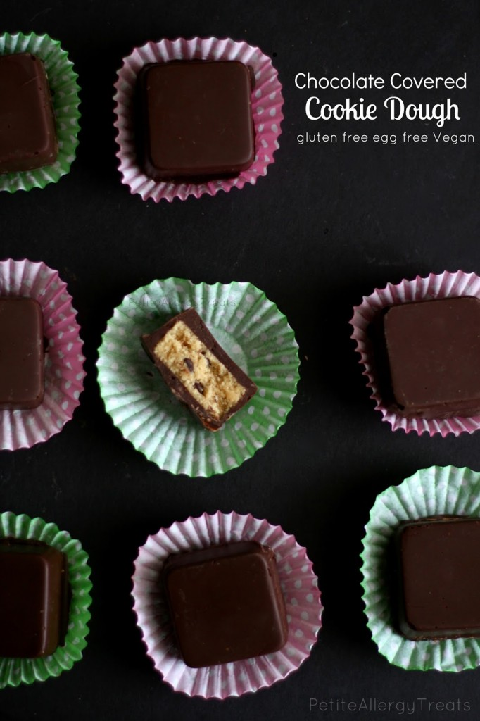 Cookie Dough Chocolate Squares (gluten free egg free Vegan)Raw eggless dairy free cookie dough dipped in chocolate for an extra sweet treat. allergen friendly.