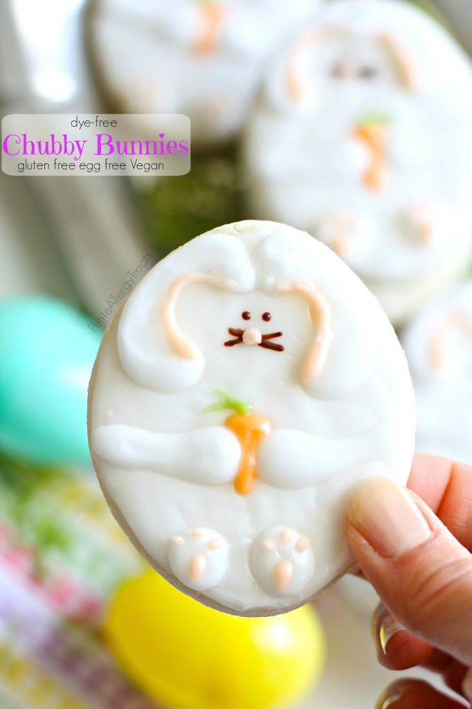 Easter Bunny Cookies- Chubby Bunnies with natural food coloring and is gluten free, egg free Vegan
