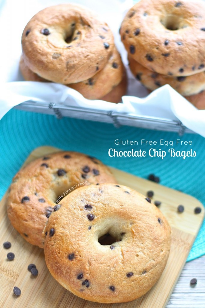Chocolate Chip Bagels (Gluten Free Egg Free Vegan)- Chewy bagels with bits of chocolate. Better than Panera! Allergy friendly too.