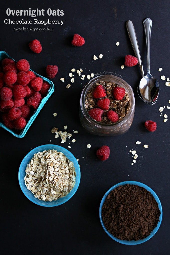 Easy Overnight Oats Chocolate Raspberry (gluten free Vegan)- Just mix set and forget for an easy oatmeal breakfast