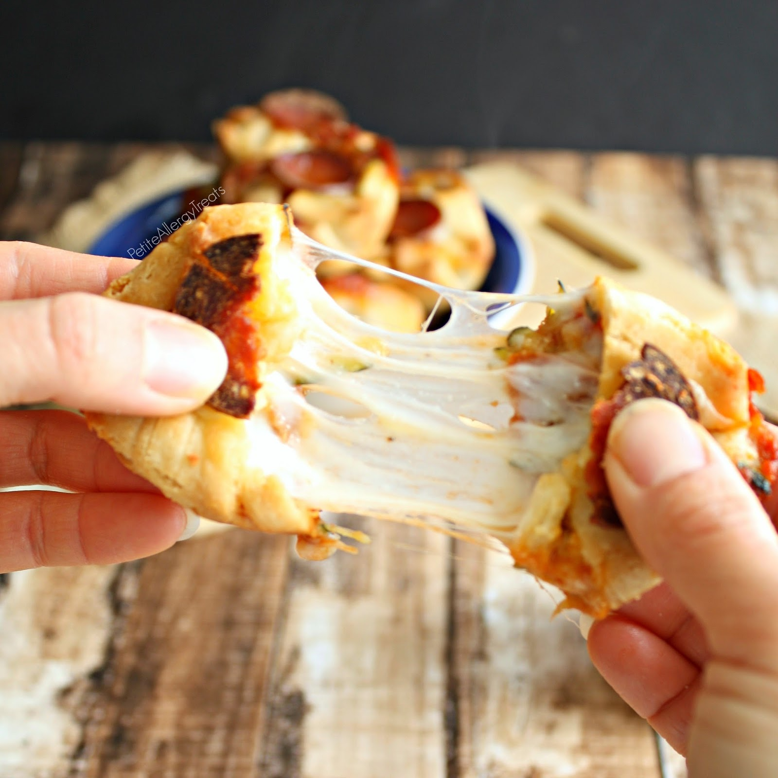 Pizza Bites (gluten free egg free)- Mini pizza pockets filled with gooey cheese and vegetables