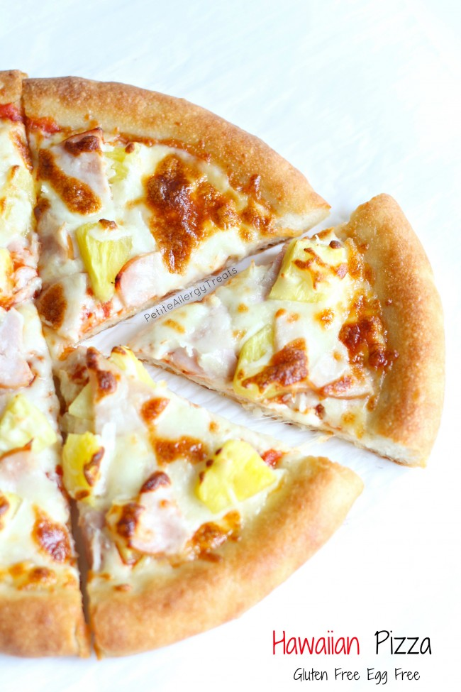 Gluten Free Hawaiian Pineapple Pizza (egg free)- Combine salty and sweet with an unbelievable puffy gluten free pizza crust