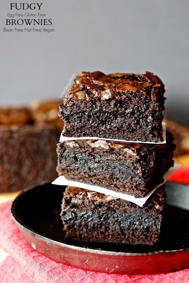 Fudgy Egg Free Gluten Free Brownies (Vegan Bean Free)- Decadent eggless brownie that is super fudgy!