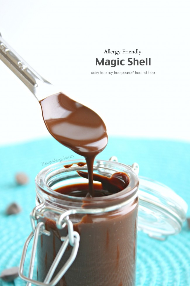 Homemade Magic Shell (Vegan)- 2 ingredients make this chocolate a perfect topping for ice cream. It's also dairy free. soy free and nut free.