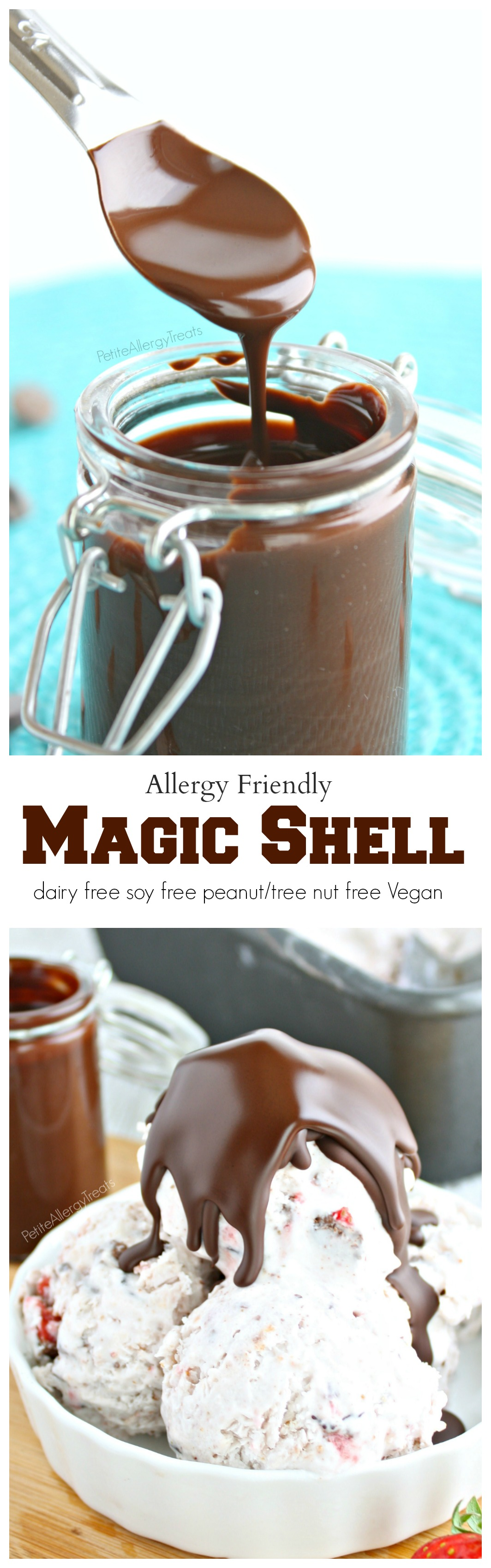 Homemade Magic Shell (Vegan)- 2 ingredients make this chocolate a perfect topping for ice cream. It's also dairy free. soy free and nut free