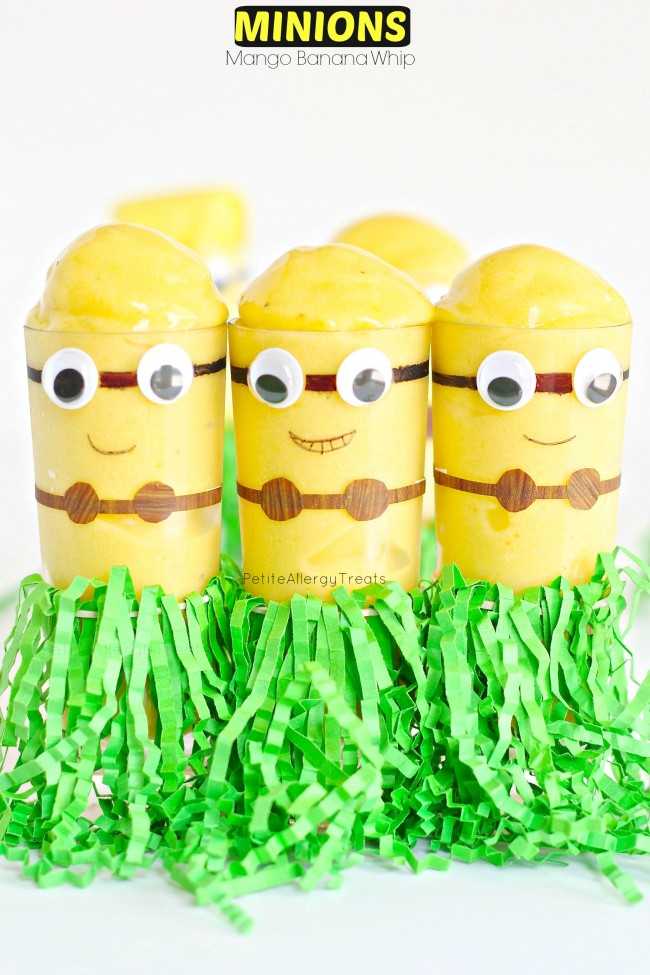 Minion Mango Banana Whip (dairy free)- Mango Banana flavored whip in a cute DIY Minion cup.  #SendSmiles #ad