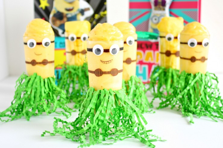 Hawaiian Minion Mango Banana Whip (dairy free)- Mango Banana flavored whip in a cute DIY Minion cup.  #SendSmiles #ad