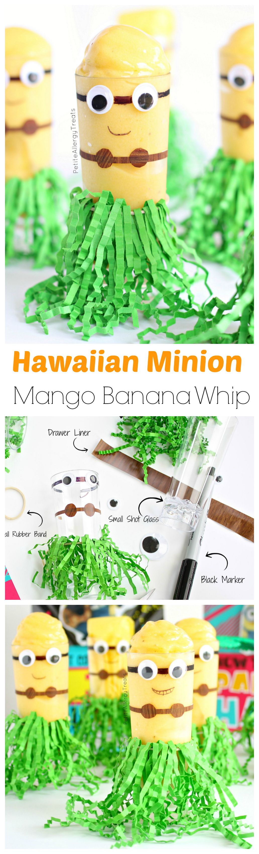 Hawaiian Minion Craft with Mango Banana Whip (dairy free)- Mango Banana flavored whip in a cute DIY Minion cup.  #SendSmiles #ad