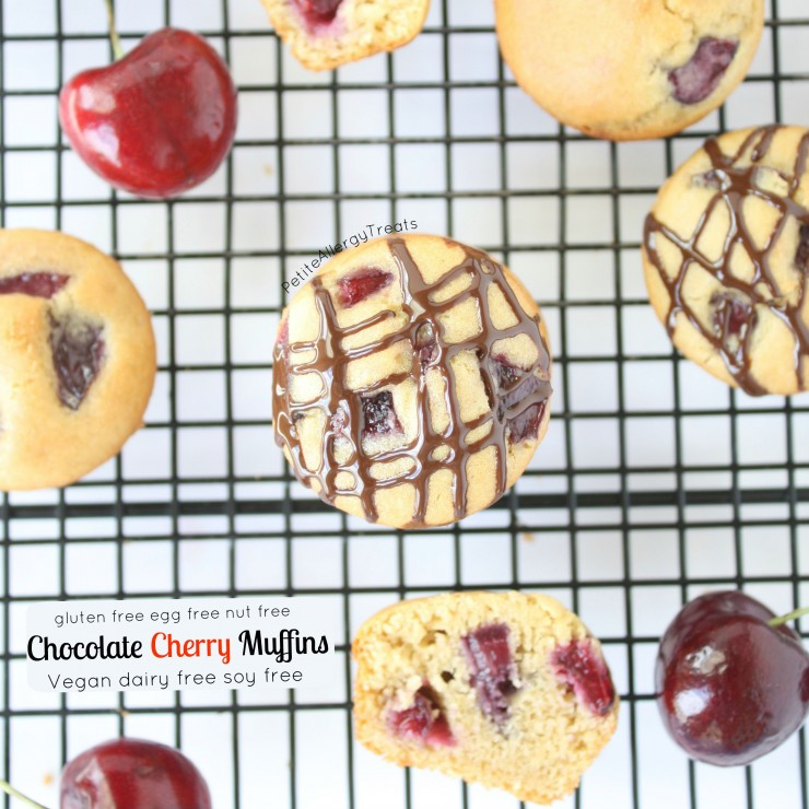 Chocolate Cherry Muffins (gluten free Vegan) Sweet cherries with whole grain gluten free flour makes these muffins irresistible! #tothefullest