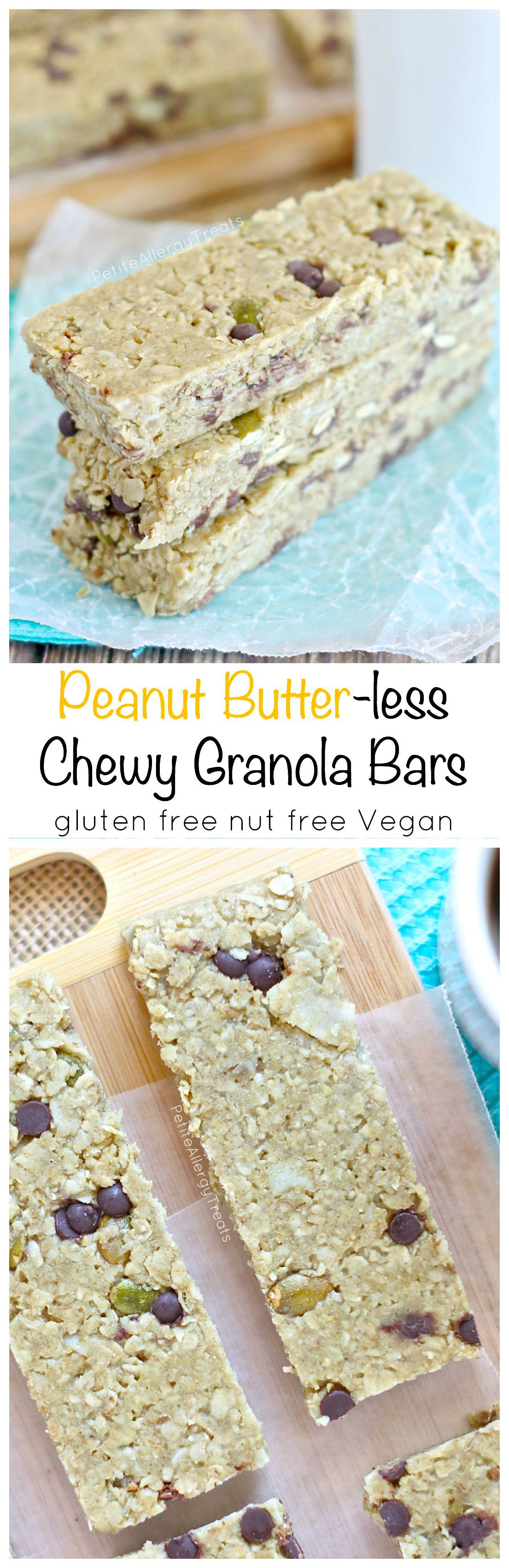 Chewy Granola Bars Peanut Butter-free (nut free gluten free Vegan) A soft chewy granola bar with all the flavor of peanut butter but made nut-free!