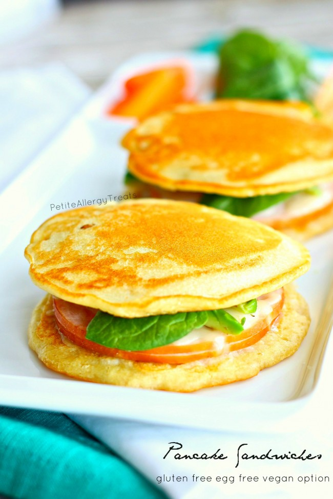 Pancake Sandwiches or Panwiches (gluten free vegan option) An easy no bake gluten free sandwich bread perfect for lunches!