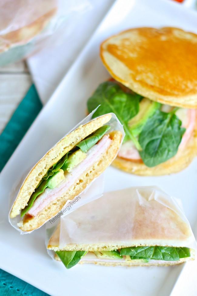 Pancake Sandwiches (gluten free) An easy no bake gluten free sandwich bread perfect for lunches!