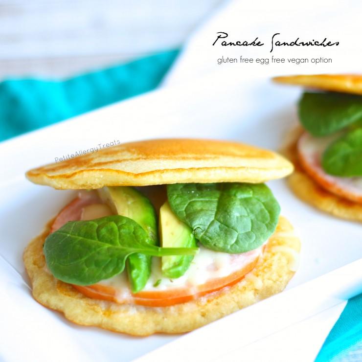 Pancake Sandwiches (gluten free vegan option) An easy no bake gluten free sandwich bread perfect for lunches!