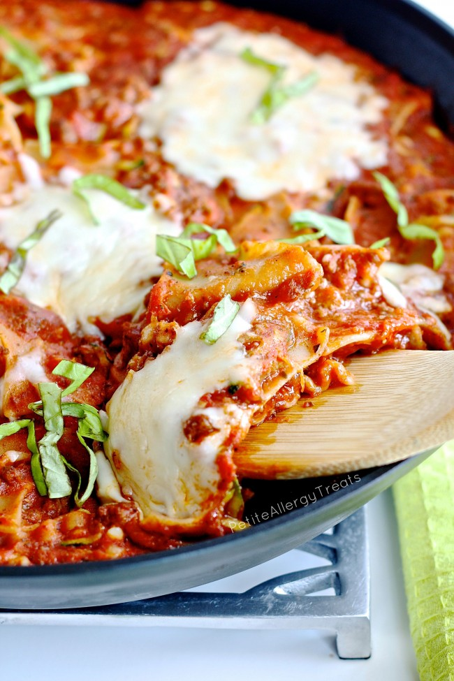 Gluten Free Skillet Lasagna- Ready in 30 minutes, this easy skillet meal is a perfect weeknight dinner!