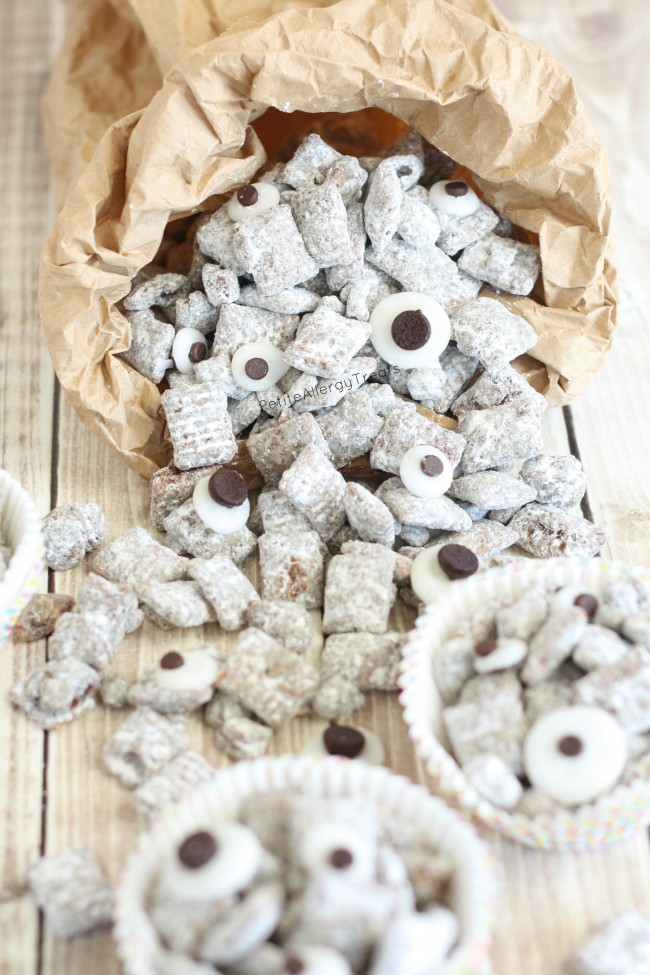 Nut Free Muddy Buddies Monster Munch (gluten free dairy free)- Classic treat with googly eyes and made peanut free, allergy friendly for classrooms