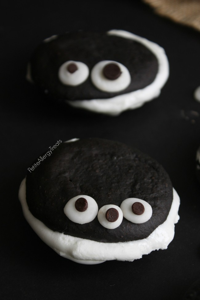 Whoopie Pies (gluten free egg free vegan option) Easy marshmallow filled chocolate cakes, a lighter whoopie pie!