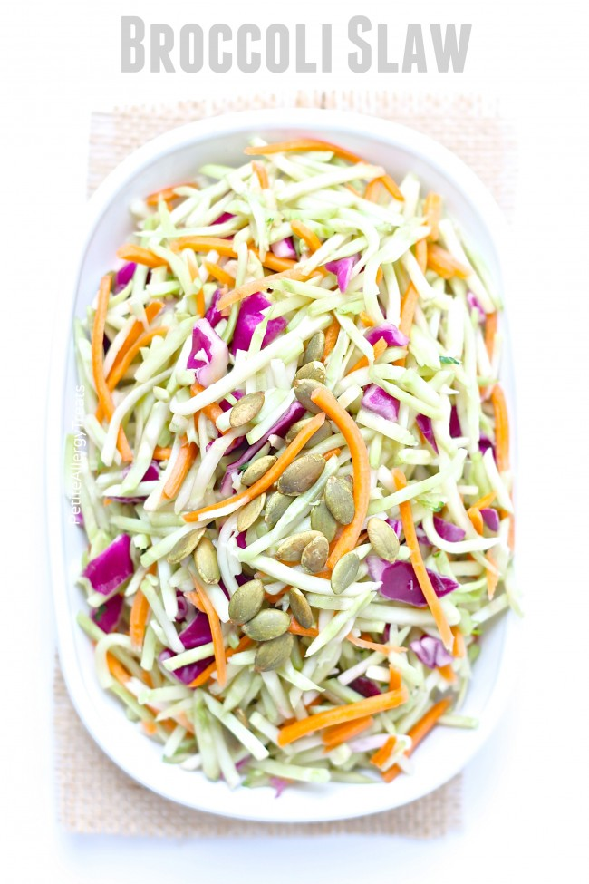Broccoli Slaw (dairy free Vegan)- Light and healthy coleslaw made from broccoli stalks tossed in a light oil vinegrette
