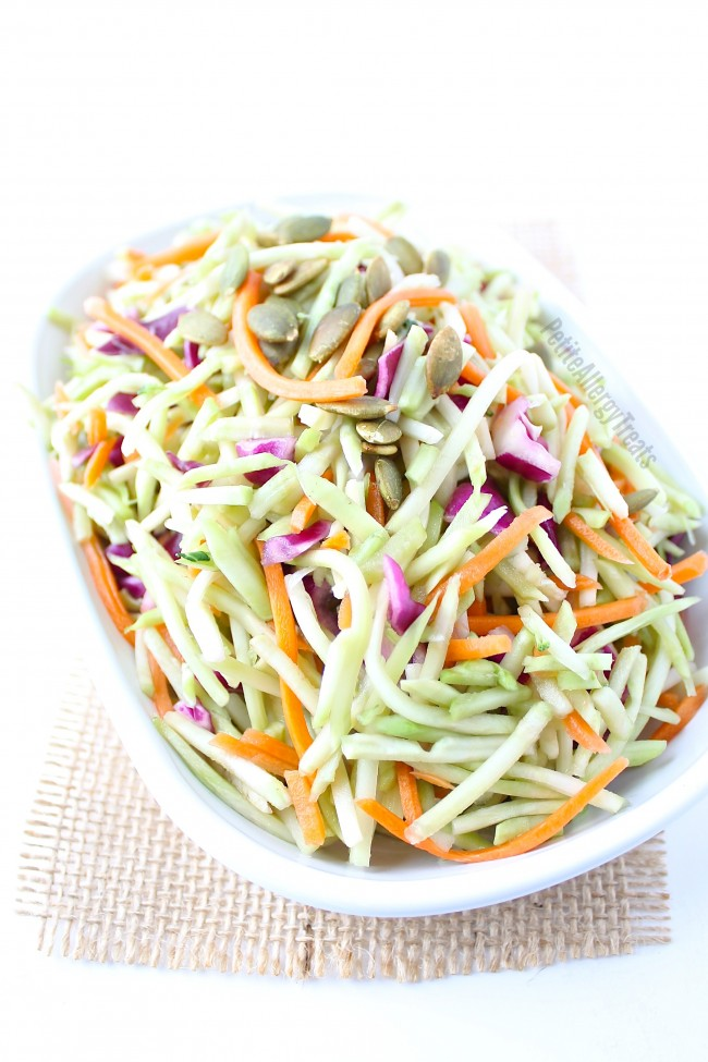 Broccoli Slaw Recipe (dairy free Vegan)- Light and healthy coleslaw made from broccoli stalks tossed in a light oil vinegrette