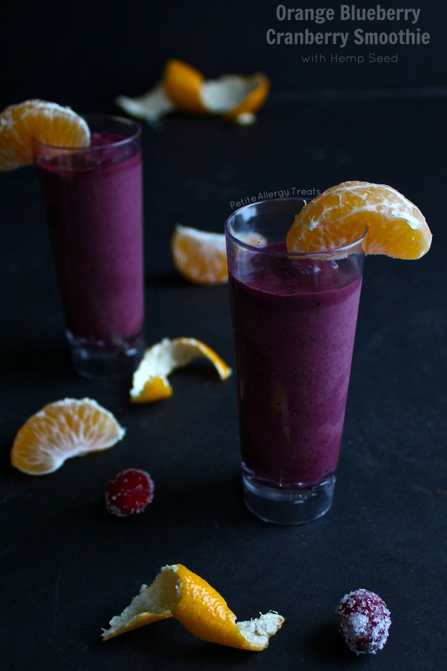 Orange Blueberry Cranberry Smoothie (with hemp seeds)- Easy breakfast smoothie full of rich antioxidants and protein.