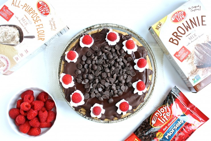 Cookie Dough Brownie Cake (Gluten Free Vegan Dairy Free)- Grab a slice of decadent brownie cookie dough cake! This cake is food allergy friendly too- egg free dairy free nut free soy free and Vegan #eatfreely, #ad