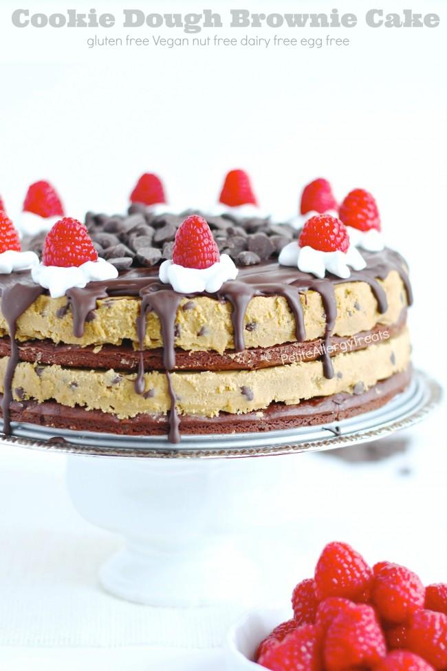 Gluten Free Cookie Dough Brownie Cake (Vegan)