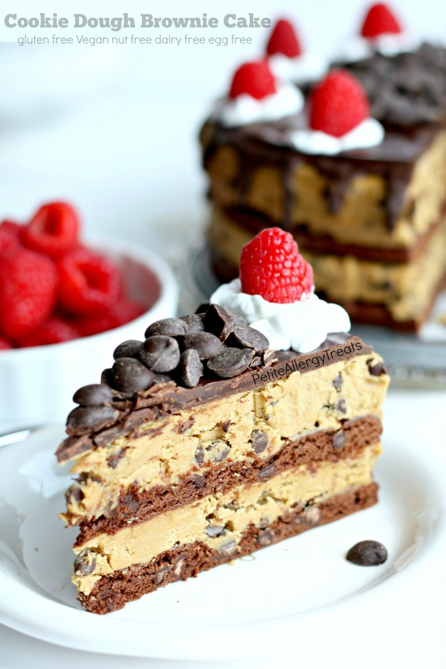 Vegan Brownie Cookie Dough Cake (Gluten Free Dairy Free) Recipe- Grab a slice of decadent brownie cookie dough cake! This cake is food allergy friendly too- egg free dairy free nut free soy free and Vegan #eatfreely, #ad