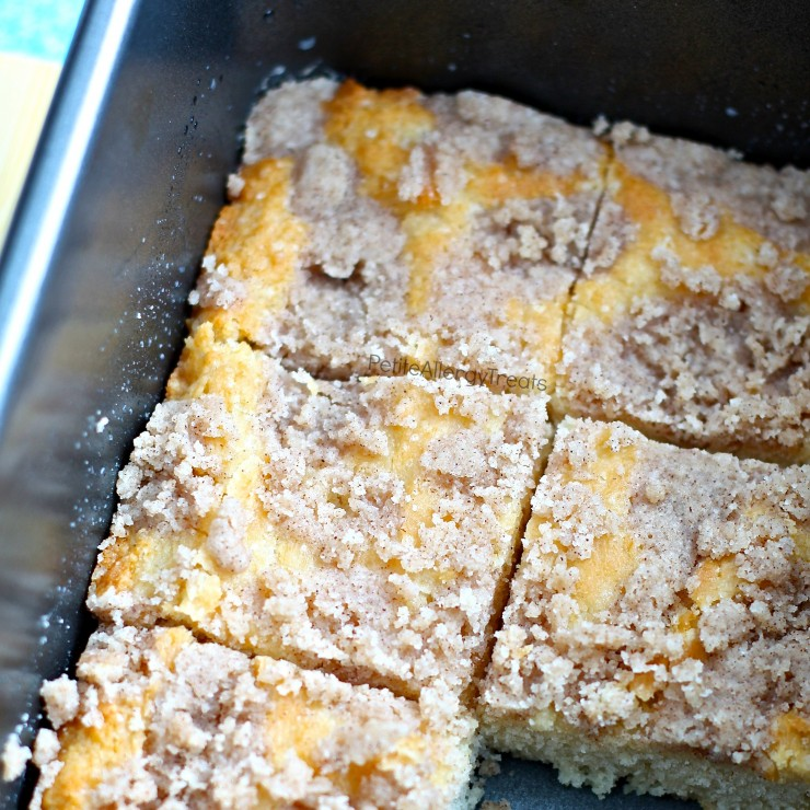 Vegan Coconut Cream Cinnamon Coffee Cake (gluten free recipe)- Light moist coffee cake infused with coconut and cinnamon. Dairy free egg free