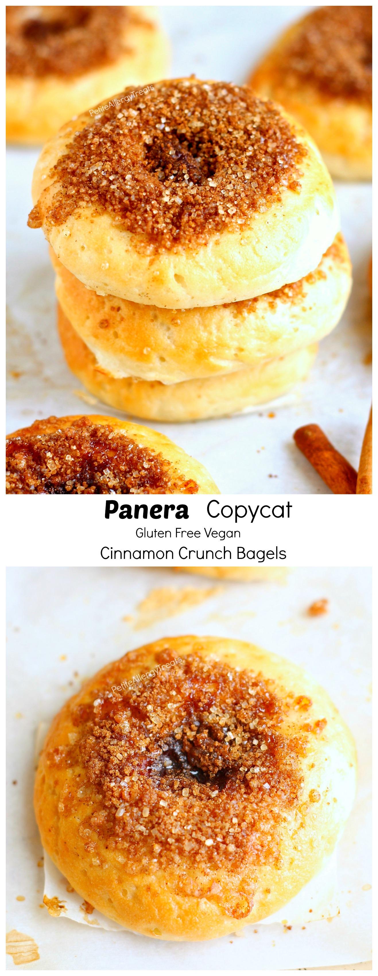 Gluten Free Copycat Cinnamon Crunch Panera Bagels ( Vegan) - Crunchy Panera cinnamon crunch bagels turned gluten free egg free and vegan! You can now enjoy bagels again