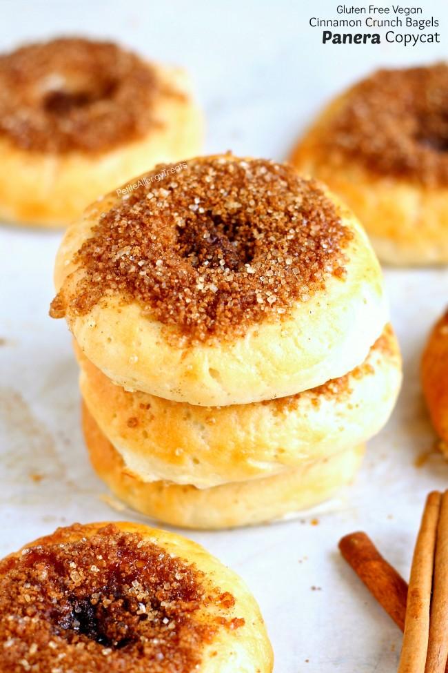 Copycat Cinnamon Crunch Panera Bagels (Gluten Free Vegan) - Crunchy Panera cinnamon crunch bagels turned gluten free egg free and vegan! You can now enjoy bagels again