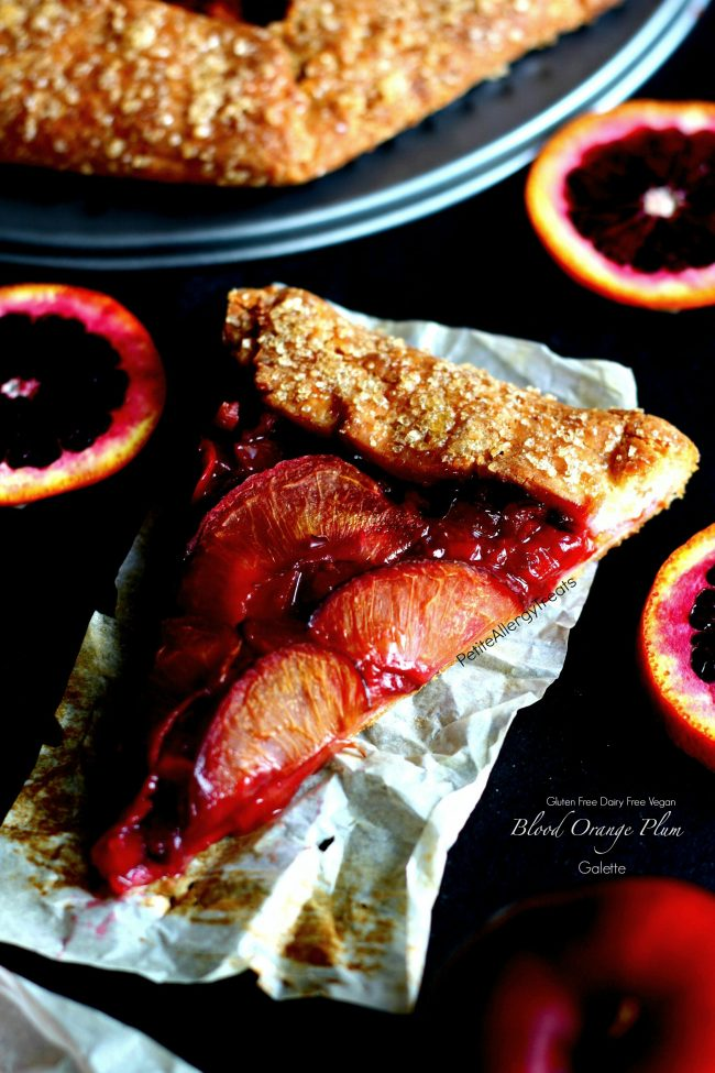 Gluten Free Blood Orange Plum Galette Recipe (vegan dairy free)- Easy rustic pie filled with sweet plums and tart blood oranges