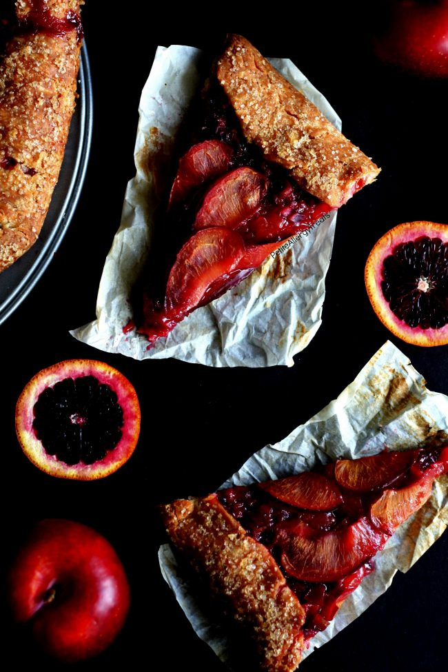 Gluten Free Pie Plum Blood Orange Recipe (vegan dairy free)- Easy rustic galette filled with sweet plums and tart blood oranges