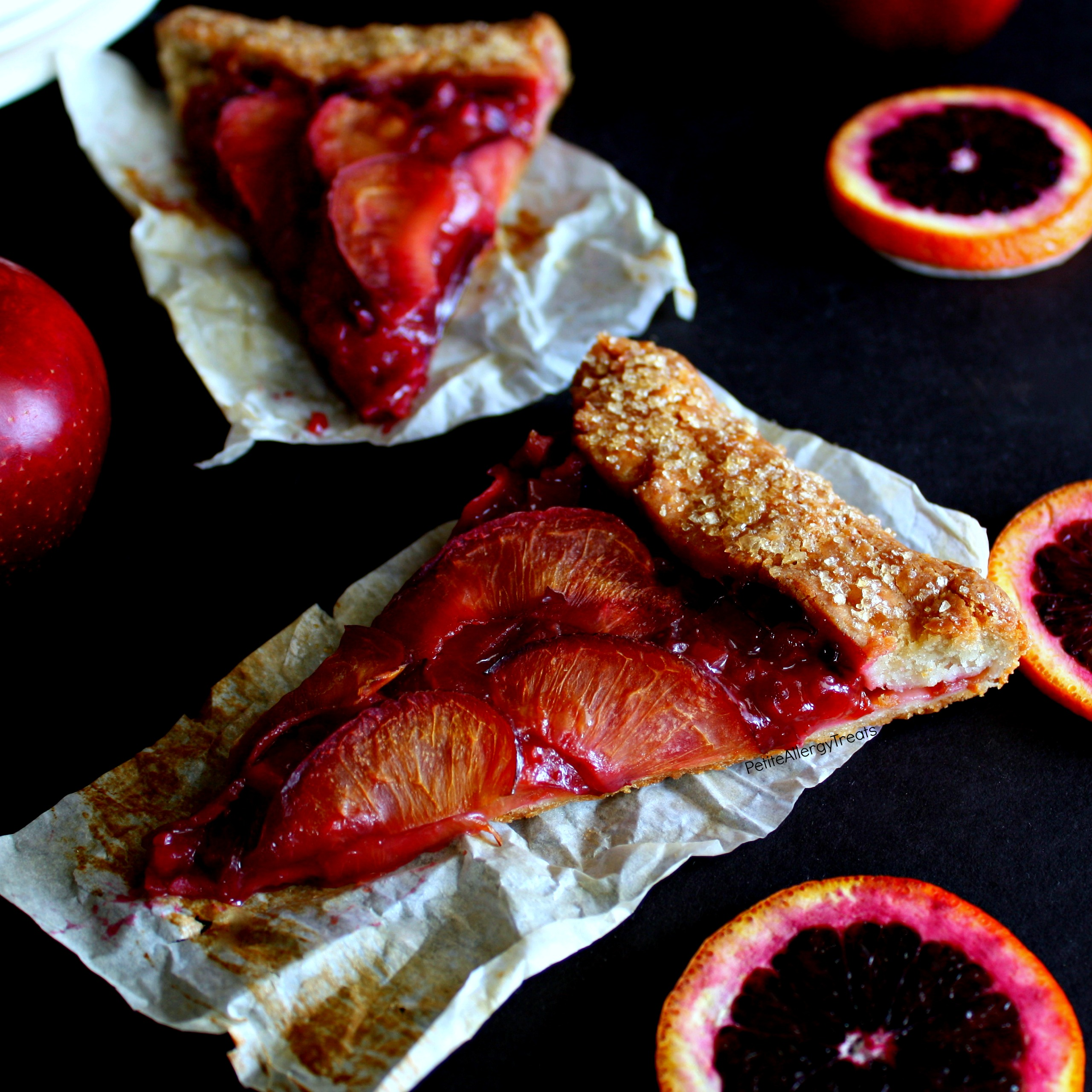 Gluten Free Orange Plum Pie Recipe (vegan dairy free)- Easy rustic galette filled with sweet plums and tart blood oranges