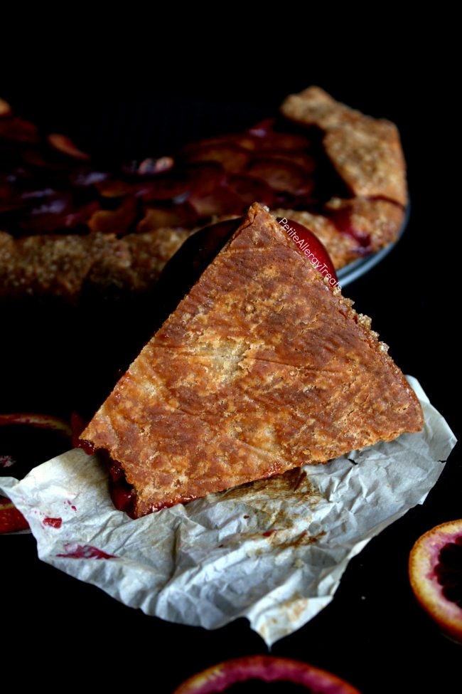 Gluten Free Pie Recipe (vegan dairy free)- Easy rustic galette filled with sweet plums and tart blood oranges