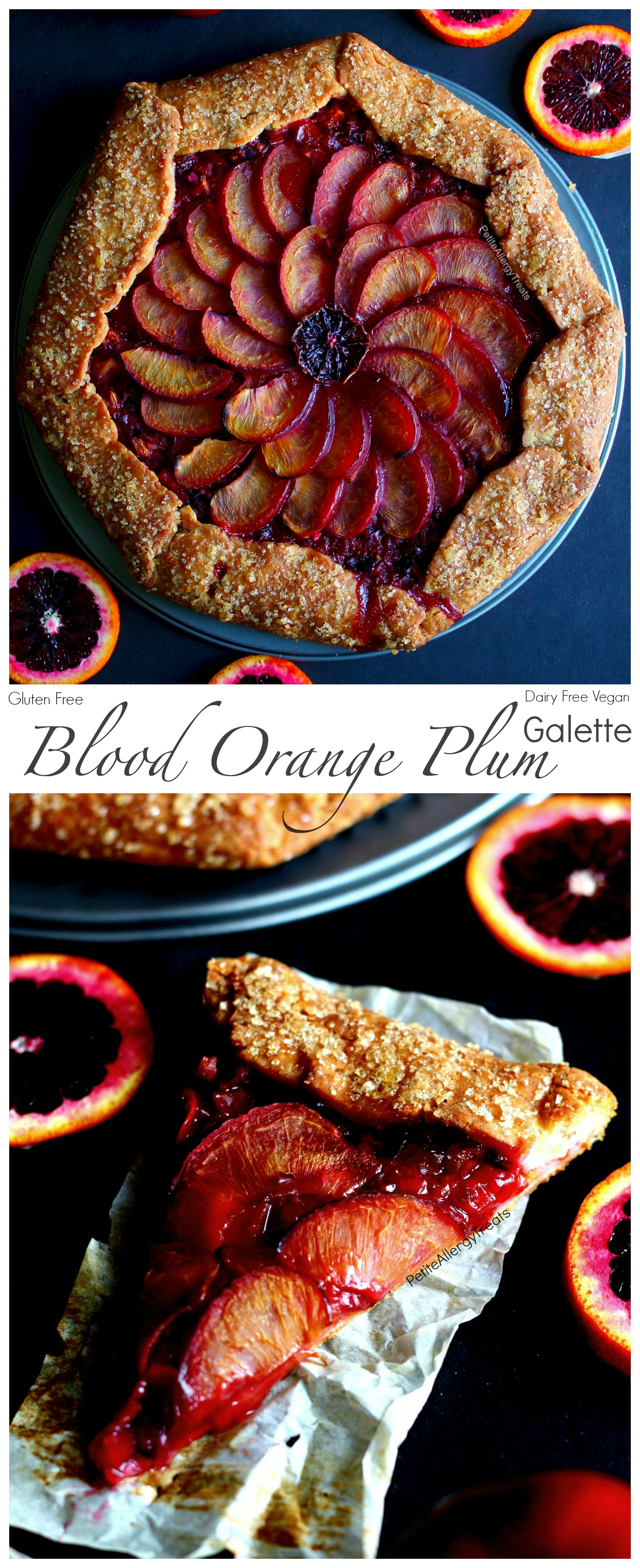 Gluten Free Plum Pie Recipe (vegan dairy free)- Easy rustic galette filled with tart blood oranges and sweet plums