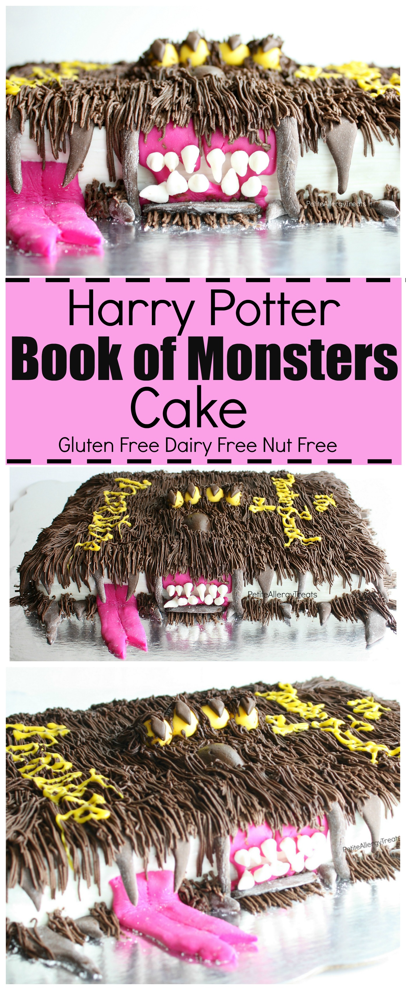 Gluten Free Harry Potter Monster Book of Monsters Cake recipe (dairy free egg free nut free)- A must make for any boys birthday or Harry Potter fan. Entire cake is food allergy friendly!