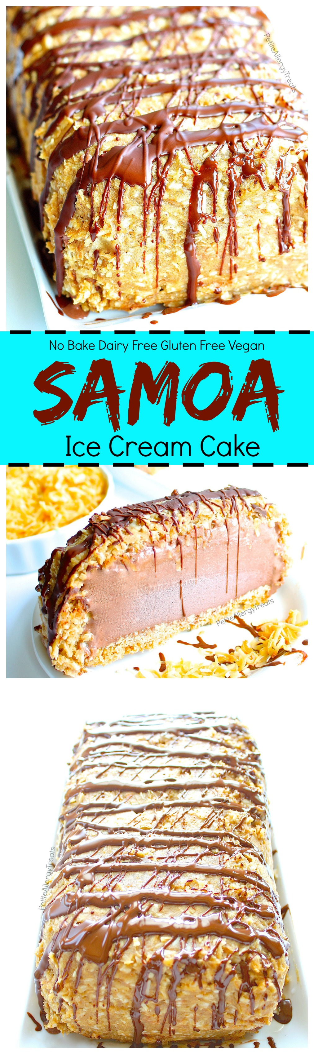 Dairy Free Samoa Ice Cream Cake Recipe (Gluten Free Vegan )- Crunchy toasted coconut, sweet caramel with cookie crumb bottom make this dairy free chocolate ice cream cake irresistible. Food Allergy friendly.